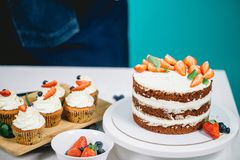 可口巧克力蛋糕用夏天莓果和另外开胃糖果店 图库摄影