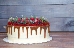 可口巧克力颜色滴水蛋糕用莓果 免版税库存图片