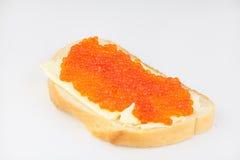可口开胃三明治用在白色的红色鱼子酱 图库摄影