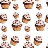可口开胃松饼,在白色背景的杯形蛋糕 免版税库存照片