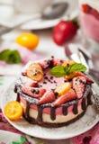 可口微型乳酪蛋糕装饰用莓果和巧克力 库存照片