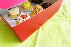 可口惊奇!! 在配件箱的6块美食的杯形蛋糕 免版税库存图片