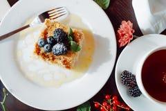 可口拿破仑片断,装饰用黑莓和蓝莓 库存图片