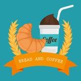 可口新月形面包面包和咖啡标签 库存照片