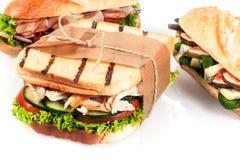 可口新鲜的午餐时间三明治选择  免版税库存照片