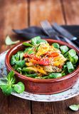 可口新鲜的温暖的茄子、甜椒和sesam沙拉 图库摄影