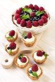 可口新鲜的莓果迷你蛋糕 免版税库存照片