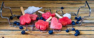 可口新鲜的西瓜用在金属栅格的蓝莓 免版税图库摄影