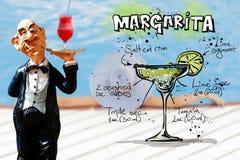 可口新鲜的酒客玛格丽塔服务 免版税库存图片