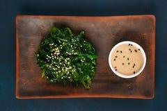 可口日本烹调, wakame chuka沙拉用辣调味汁 免版税库存照片