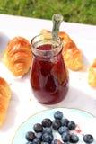 可口早餐用新鲜的新月形面包,蓝莓和raspbery在庭院里阻塞 库存照片