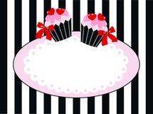 可口杯形蛋糕倒栽跳水或标签 免版税库存照片