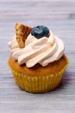 可口杯形蛋糕用蓝莓 图库摄影