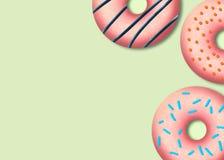 可口桃红色油炸圈饼 鲜美面包店产品 五颜六色的食物设计 ?? 库存例证
