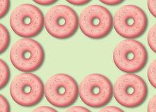 可口桃红色油炸圈饼 鲜美面包店产品 五颜六色的食物设计 ?? 向量例证