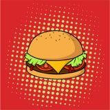 可口汉堡包,速食,流行艺术传染媒介设计,例证 库存例证