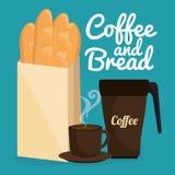 可口法国面包和咖啡标签 免版税图库摄影