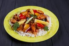 可口泛亚食物,与鸡, pi的开胃辣米 库存照片