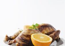可口炸鸡用荷兰芹,橙色在白色板材 复制文本的空间 库存图片