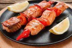 可口烤鱼kebab 日本烹调 免版税库存照片