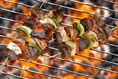 可口烤kebabs 免版税图库摄影