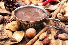 可口熔化巧克力和香料 免版税库存照片