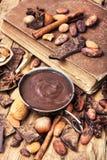 可口熔化巧克力和香料 免版税库存图片