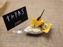 可口犹太hummus用辣红辣椒芯片塔帕纤维布开胃菜 塔帕纤维布海报 免版税库存照片
