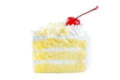 可口的白蛋糕,香草蛋糕顶部用白色巧克力 免版税图库摄影