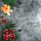 可口石榴石,普通话假日框架  桂香和茴香在黑暗的背景 概念新年度 平的位置 顶视图 库存照片