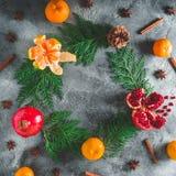 可口石榴石,普通话框架  桂香和茴香在黑暗的背景 概念新年度 平的位置 顶视图 免版税库存照片