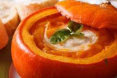 可口秋天被烘烤的南瓜汤宏指令 水平 免版税库存照片
