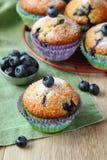 可口自创蓝莓松饼用新鲜的蓝莓 库存照片