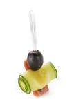 可口自助餐,在白色背景的长椅 免版税图库摄影