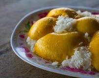 可口芒果黏米饭 库存图片