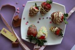 可口草莓用棕色和白色巧克力 免版税库存图片