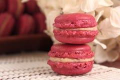 可口草莓Macarons 免版税库存图片