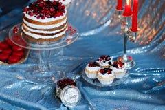可口莓果蛋糕、蛋白杏仁饼干和松饼在银色背景 库存图片