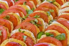 可口蕃茄和水牛无盐干酪在沙拉行砍了 库存照片