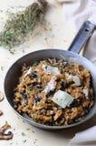 可口蘑菇意大利煨饭 库存照片