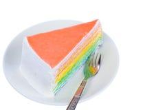 可口蛋糕片断,隔绝在白色背景 库存照片