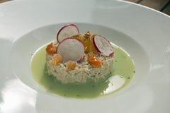 可口螃蟹沙拉用水田芥和辣椒粉调味汁和梨和萝卜顶部  免版税库存图片