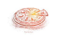 可口西西里人的比萨,地道便当在巴勒莫,膳食用鲥鱼、乳酪和调味汁,切的快餐 库存例证