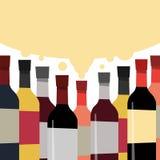 可口酒的一汇集 瓶酒精饮料 向量例证