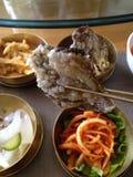 可口韩国食物五颜六色的北朝鲜的烹调 图库摄影