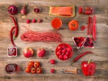 可口食物的红色收藏, topview 免版税库存图片
