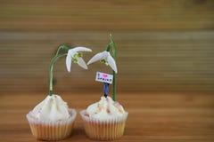 可口香草杯形蛋糕冠上了与新鲜的snowdrop花和一个微型人小雕象有春天标志的 库存照片