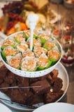 可口香草maffins和巧克力蛋糕 库存照片