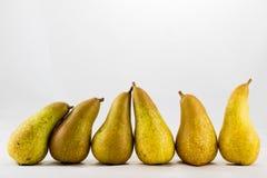 可口,可口成熟苹果和梨在白色背景 免版税库存图片