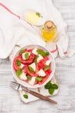 可口caprese沙拉用成熟蕃茄和无盐干酪乳酪与新鲜的蓬蒿离开 烹调意大利语的食品成分 库存照片